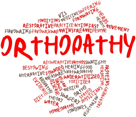 Abstract word cloud for Orthopathy with related tags and terms Stock Photo