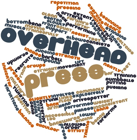 spotter: Abstract word cloud for Overhead press with related tags and terms Stock Photo