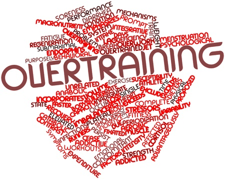 exceeds: Abstract word cloud for Overtraining with related tags and terms Stock Photo