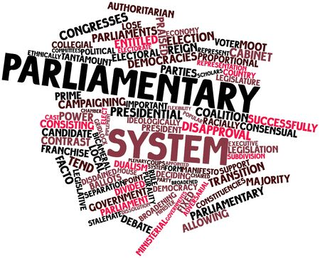 adversarial: Abstract word cloud for Parliamentary system with related tags and terms