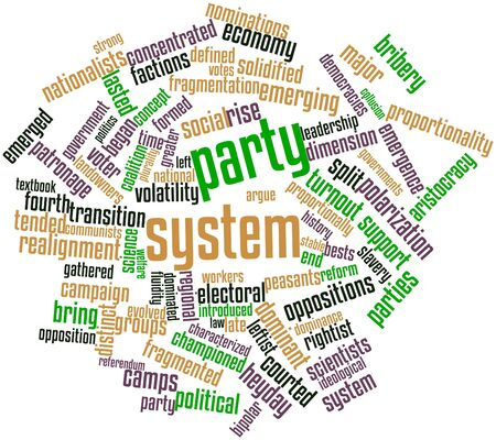 ideological: Abstract word cloud for Party system with related tags and terms