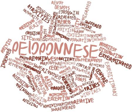 retained: Nube palabra abstracta para Peloponeso con etiquetas y términos relacionados Foto de archivo