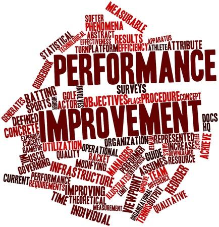 Nuage de mot abstrait pour l'amélioration des performances avec des étiquettes et des termes connexes Banque d'images