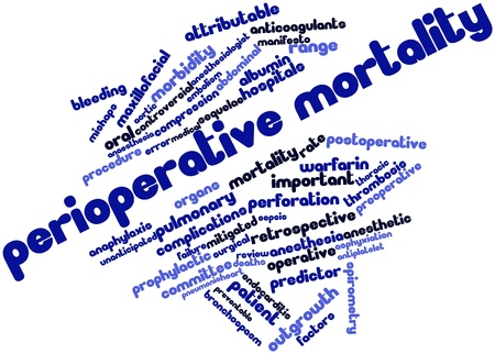Abstract word cloud for Perioperative mortality with related tags and terms