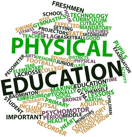 federally: Abstract word cloud for Physical education with related tags and terms Stock Photo