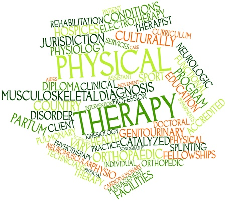 diagnosis: Abstract word cloud for Physical therapy with related tags and terms