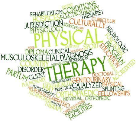 educacion fisica: Nube palabra abstracta para la terapia física con etiquetas y términos relacionados