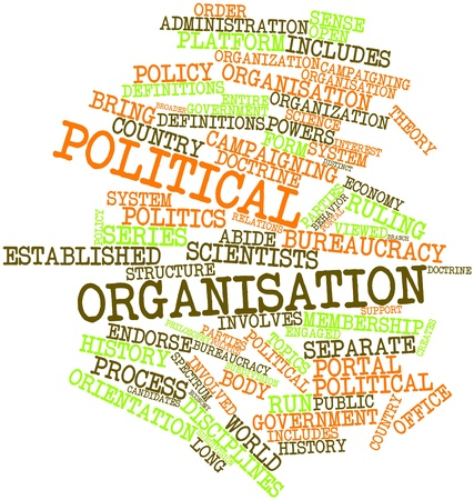 ruling: Abstract word cloud for Political organisation with related tags and terms Stock Photo