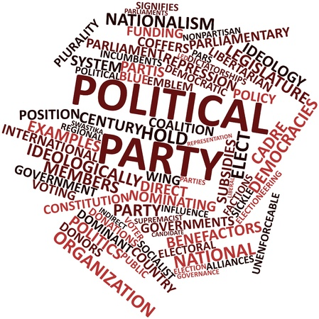 alleged: Abstract word cloud for Political party with related tags and terms