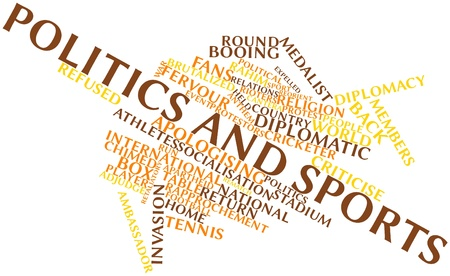 contributed: Abstract word cloud for Politics and sports with related tags and terms Stock Photo