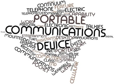 communication capability: Abstract word cloud for Portable communications device with related tags and terms