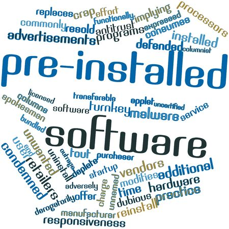 antitrust: Abstract word cloud for Pre-installed software with related tags and terms