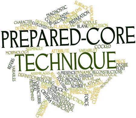 preceded: Abstract word cloud for Prepared-core technique with related tags and terms