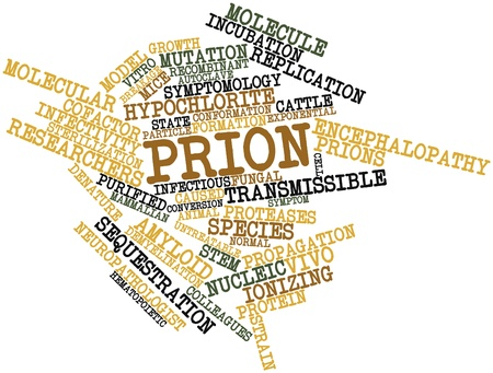 linearly: Abstract word cloud for Prion with related tags and terms Stock Photo