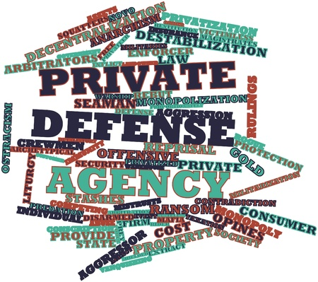 shielded: Abstract word cloud for Private defense agency with related tags and terms Stock Photo