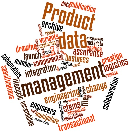 enhances: Abstract word cloud for Product data management with related tags and terms Stock Photo