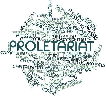 humanismo: Nube palabra abstracta para proletariado con las etiquetas y términos relacionados
