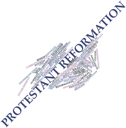 condemnation: Abstract word cloud for Protestant Reformation with related tags and terms Stock Photo