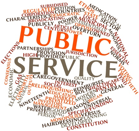 public service: Abstract word cloud for Public service with related tags and terms Stock Photo