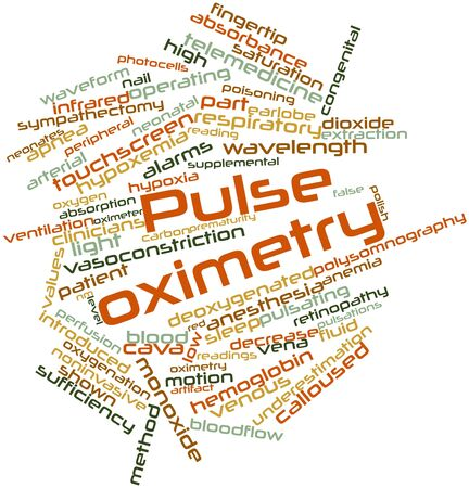 apnea: Abstract word cloud for Pulse oximetry with related tags and terms