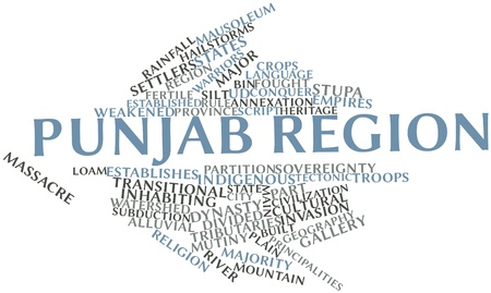 Abstract word cloud for Punjab region with related tags and terms Banco de Imagens