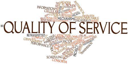 Nuage de mots abstraits pour la qualité de service avec des étiquettes et des termes connexes Banque d'images