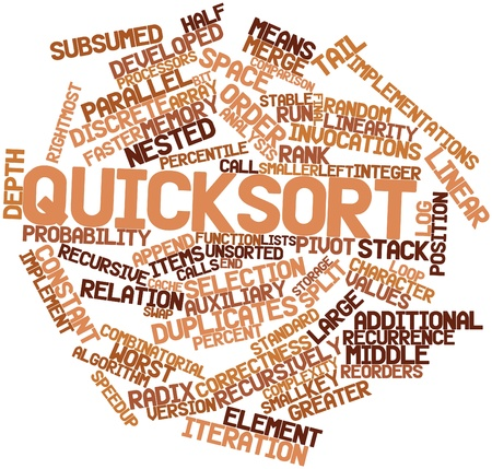 nested: Abstract word cloud for Quicksort with related tags and terms Stock Photo