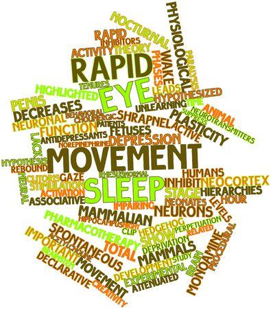 declarative: Nube parola astratta per Rapid Eye Movement dormire con tag correlati e termini Archivio Fotografico
