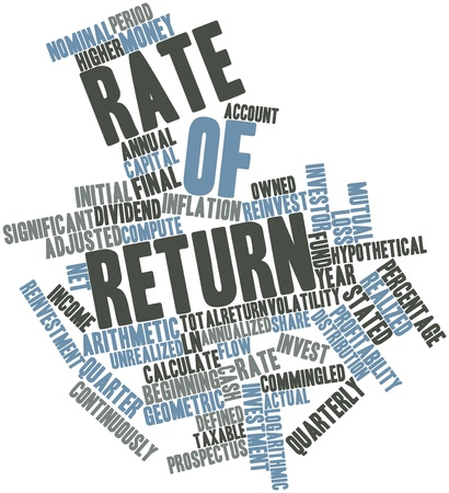 mutual funds: Abstract word cloud for Rate of return with related tags and terms