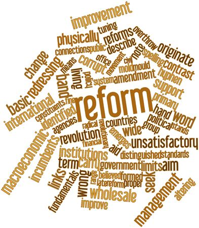 financial institutions: Abstract word cloud for Reform with related tags and terms