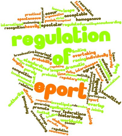 probable: Abstract word cloud for Regulation of sport with related tags and terms Stock Photo