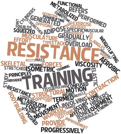 exercise machine: Abstract word cloud for Resistance training with related tags and terms Stock Photo