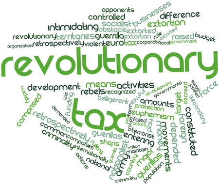 Abstract word cloud for Revolutionary tax with related tags and terms Stock Photo - 16719967