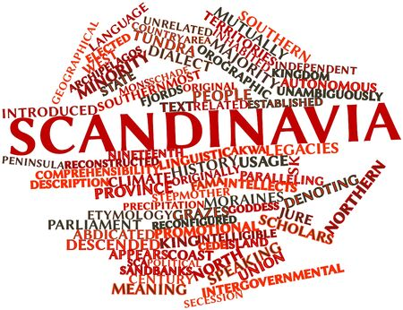 distantly: Abstract word cloud for Scandinavia with related tags and terms Stock Photo