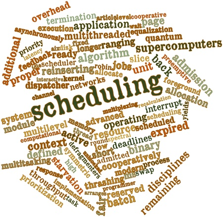 latency: Abstract word cloud for Scheduling with related tags and terms Stock Photo