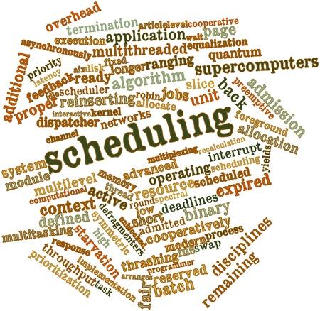 disciplines: Abstracte woord wolk voor Scheduling met gerelateerde tags en termen Stockfoto