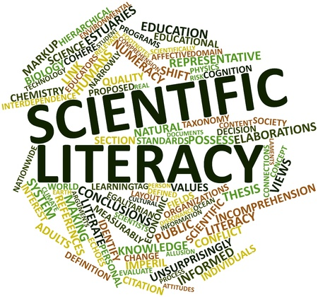 literacy: Abstract word cloud for Scientific literacy with related tags and terms Stock Photo