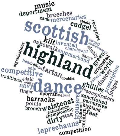 deportment: Abstract word cloud for Scottish highland dance with related tags and terms Stock Photo