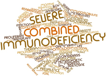 compromised: Abstract word cloud for Severe combined immunodeficiency with related tags and terms Stock Photo