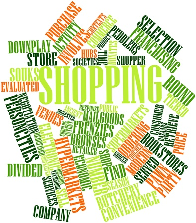browses: Abstract word cloud for Shopping with related tags and terms Stock Photo
