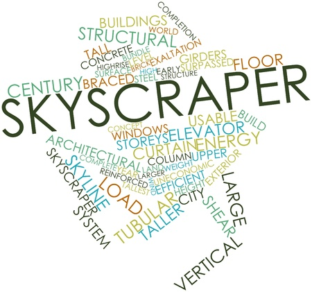 Abstract word cloud for Skyscraper with related tags and terms