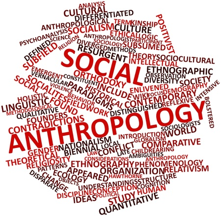 demografia: Nube palabra abstracta para la antropología social con etiquetas y términos relacionados