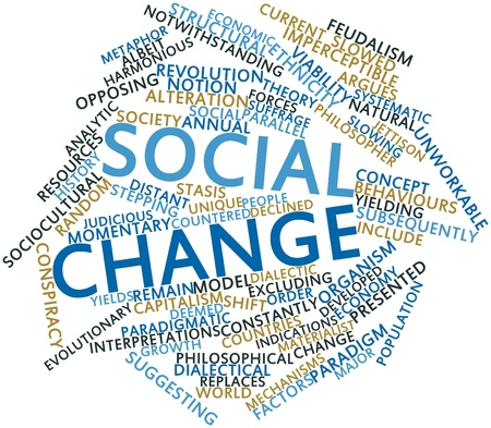 stepping: Abstract word cloud for Social change with related tags and terms
