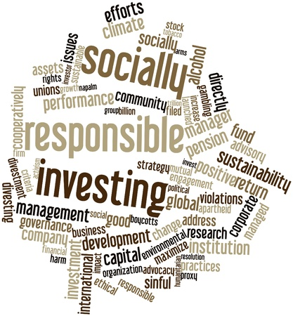 socially: Abstract word cloud for Socially responsible investing with related tags and terms