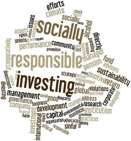 gobierno corporativo: Nube palabra abstracta para la inversi�n socialmente responsable con las etiquetas y t�rminos relacionados Foto de archivo
