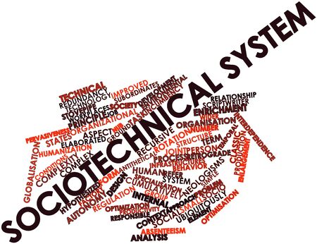 interdependence: Abstract word cloud for Sociotechnical system with related tags and terms Stock Photo