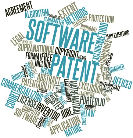 Abstract word cloud for Software patent with related tags and terms Stock Photo - 16720787
