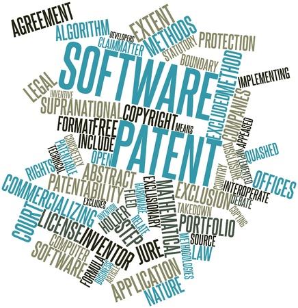 excludes: Word cloud astratto per il brevetto software con tag correlati e termini