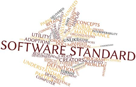 license: Abstract word cloud for Software standard with related tags and terms Stock Photo