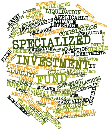 arisen: Abstract word cloud for Specialized investment fund with related tags and terms